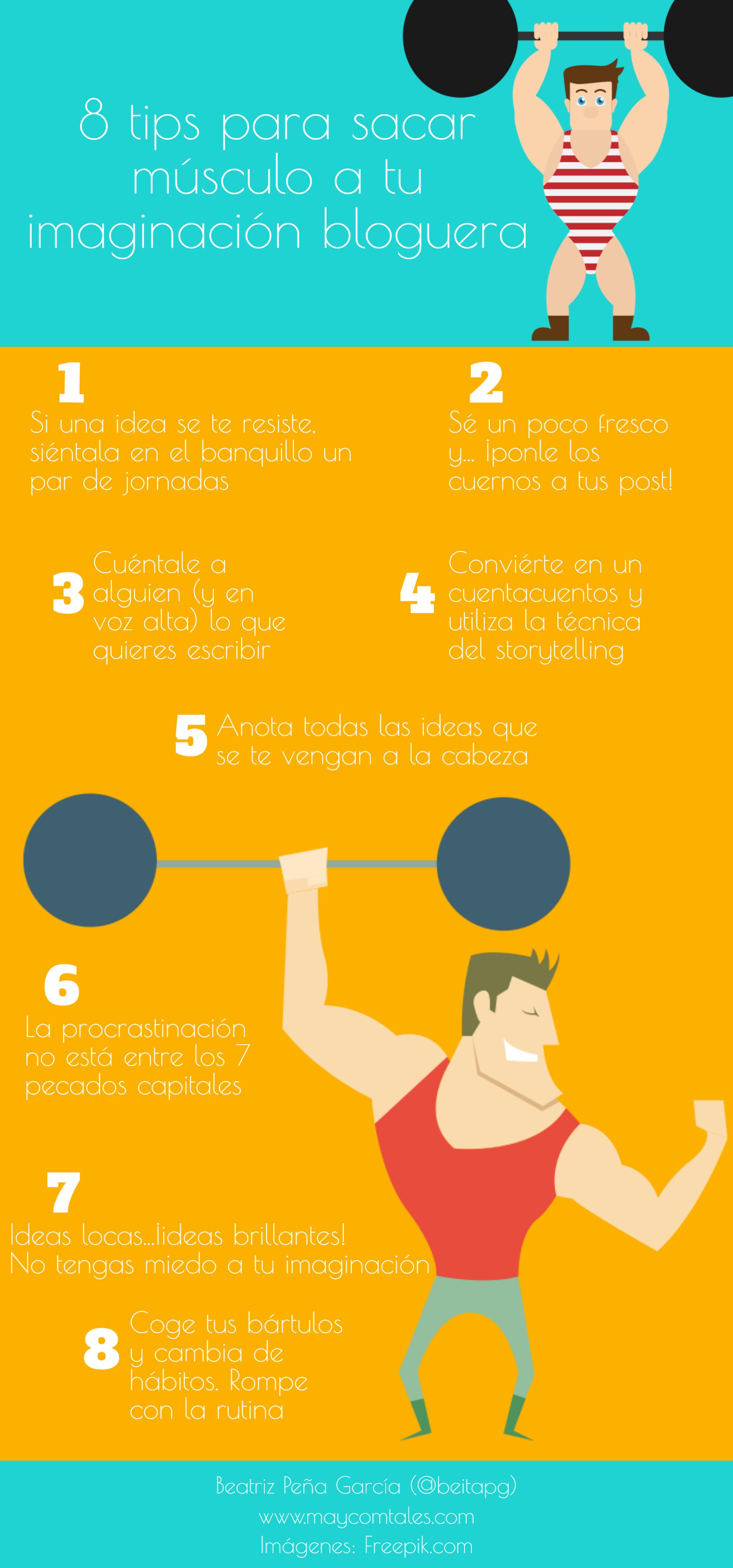 Infografía 8 tips para sacar músculo a tu imaginación bloguera